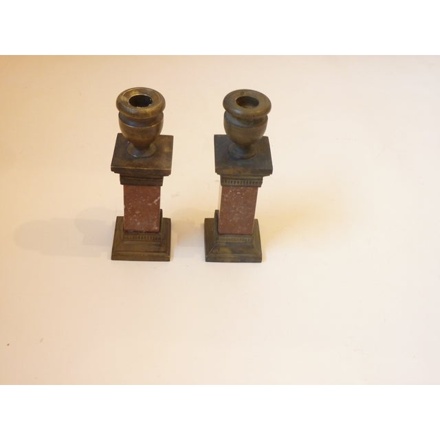 Pair of bronze & red marble candlesticks, neoclassical style, in the form of square columns, priced for the pair.