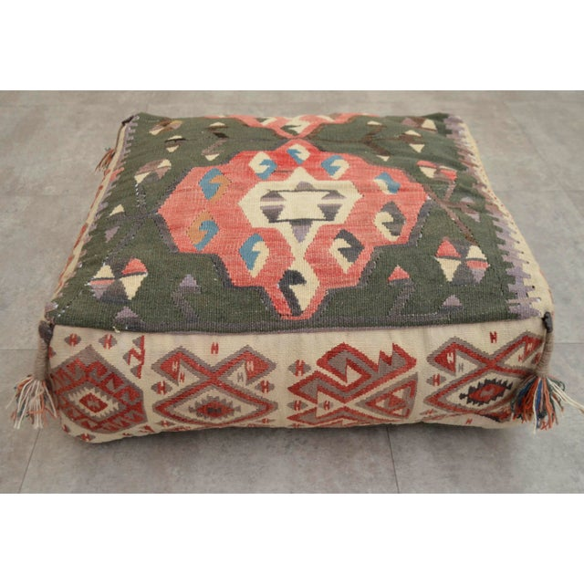 Turkish Kilim Floor Pillow : Turkish Hand Woven Kilim Floor Pillow Cushion Cover - 24? X 24? Chairish