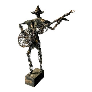 Large Mid Century Mixed Metal Sculpture - Spanish Guitar Player