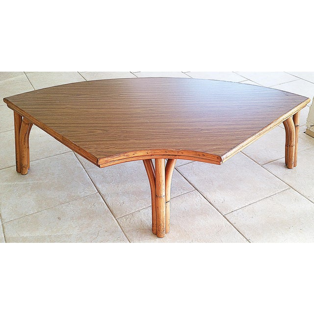Midcentury Rattan Bamboo Coffee Table For Sale - Image 5 of 8
