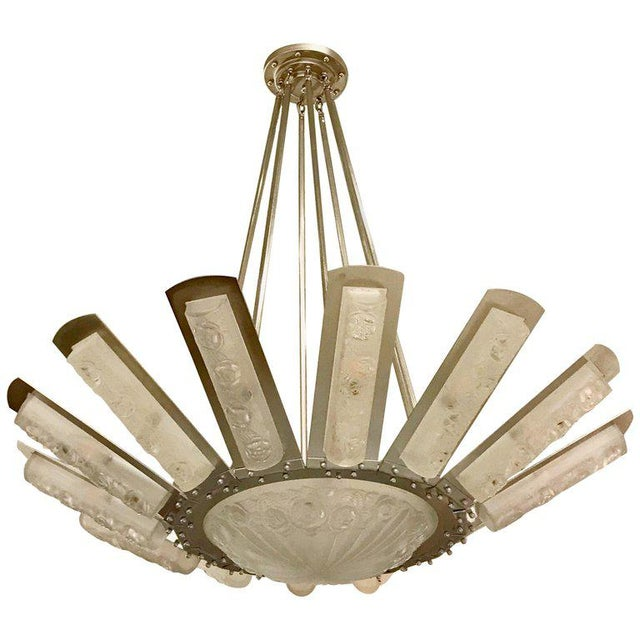 French Art Deco Starburst Chandelier by Degué For Sale - Image 13 of 13