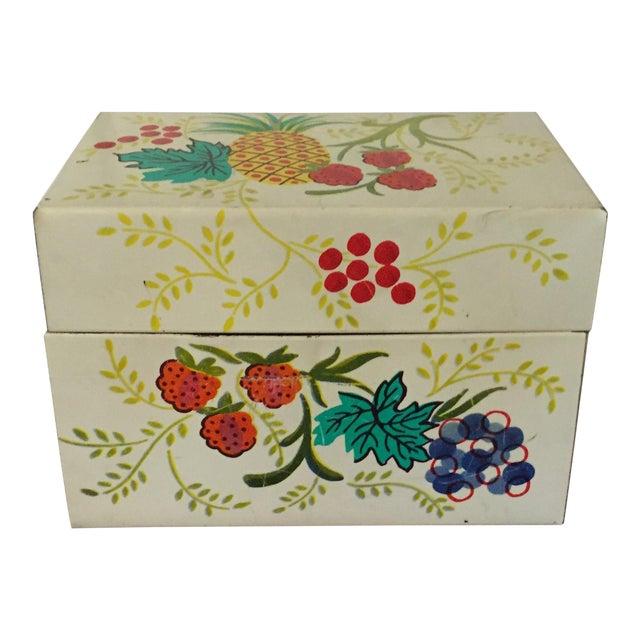 Tin Recipe Box With Fruit - Image 1 of 9