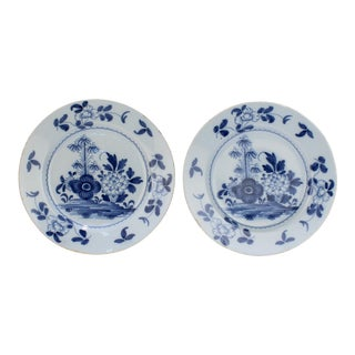 18th Century Bristol English Delft Pottery Plates with Peony Decoration - A Pair For Sale