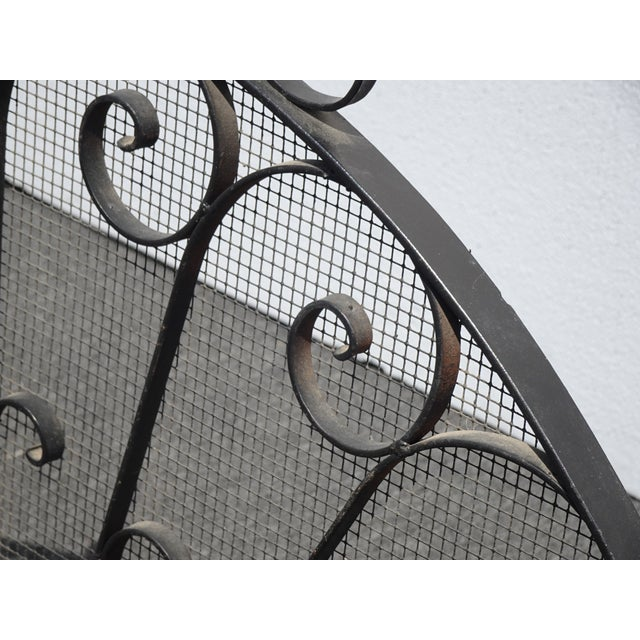 Black Vintage Spanish Style Black Metal Fireplace Screen W Scrolls For Sale - Image 8 of 13
