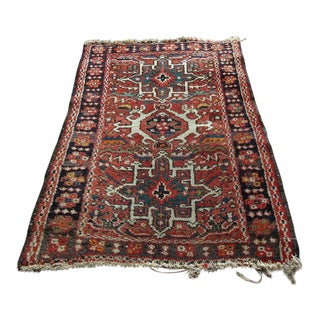 "Vintage Red Persian Wool Area Rug - 2'2""x2'7"""