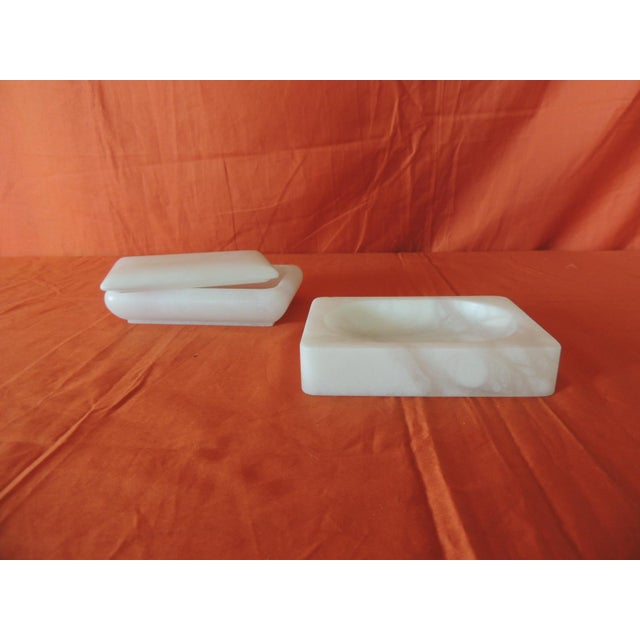 Set of Covered Box and Dish Italian Alabaster Decorative Accessories For Sale - Image 4 of 5