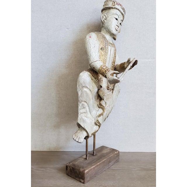 Figurative Vintage Thai Carved Wood Sculptural Statue For Sale - Image 3 of 13