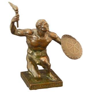 """1930 Art Deco """"The Idea of Rotary"""" Figurative Bronze Sculpture by Giannino Castiglioni For Sale"""