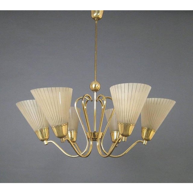1950s German Brass & Etched Glass Chandelier, 1950s For Sale - Image 5 of 7