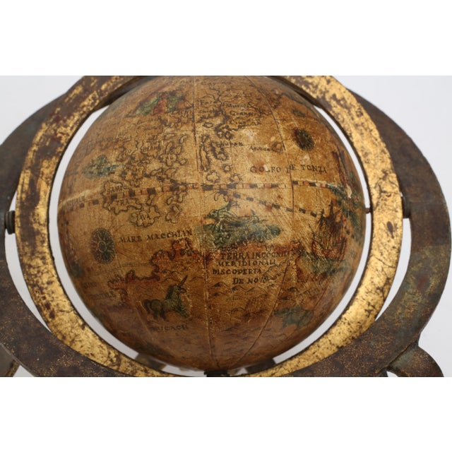 Brown Italian Mini Old World Globe with Brass stand For Sale - Image 8 of 10