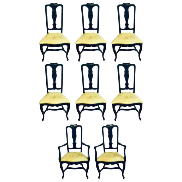 Set of Eight Queen Anne Ebonized and Gilt Decorated Dining Chairs For Sale