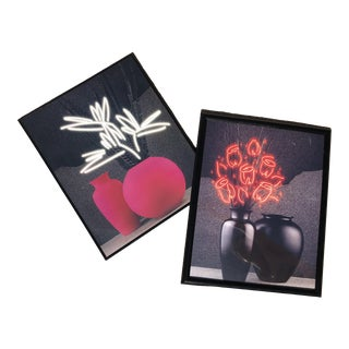 1980s Neon Floral Still Life Posters - A Pair For Sale