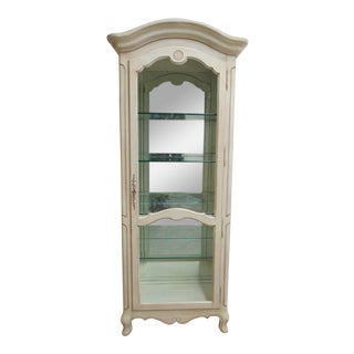 Ethan Allen Country French Paint Decorated Curio Cabinet Display China Hutch