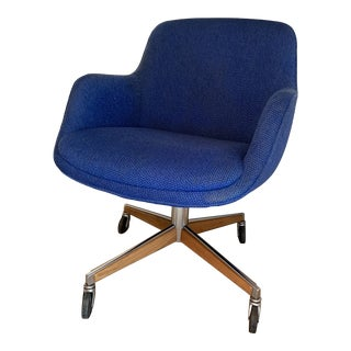 1970's Steelcase Mid-Century Blue Swivel Barrel Chair For Sale