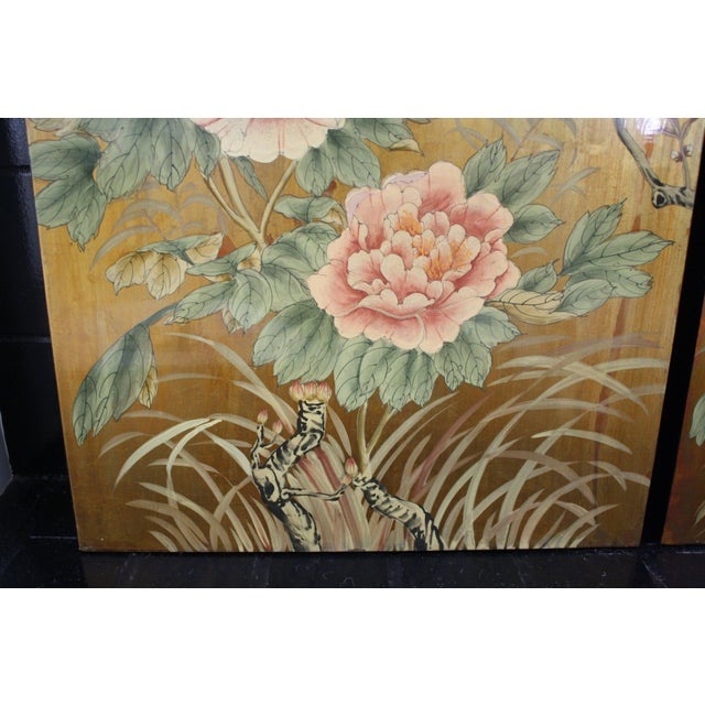 1980s Vintage Decorative Chinese Chinoiserie Wall Panels, a Pair For Sale - Image 5 of 13