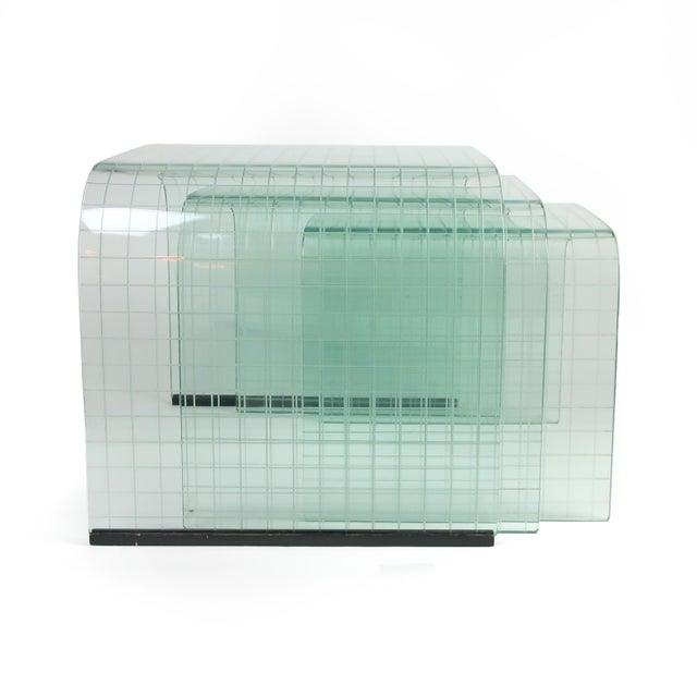 Mid-Century Modern Etched Glass Waterfall Table by Angelo Cortesi for Fiam For Sale - Image 3 of 9