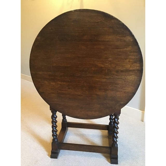 Brown Antique Monk's Chair/Side Table For Sale - Image 8 of 12