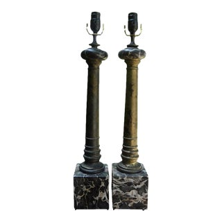 Vintage Italian Marble and Tole Column Lamps-A Pair For Sale