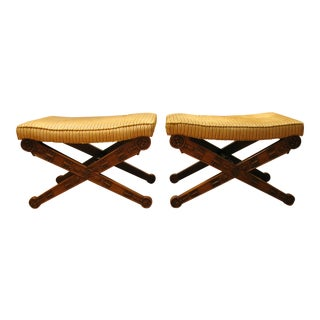 Mid-Century Italian Regency X-Base Benches - A Pair