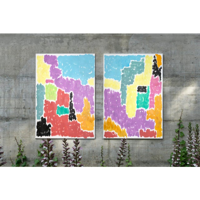 Abstract Leaving the City Diptych Abstract Shapes Cityscape Painting by Natalia Roman For Sale - Image 3 of 12