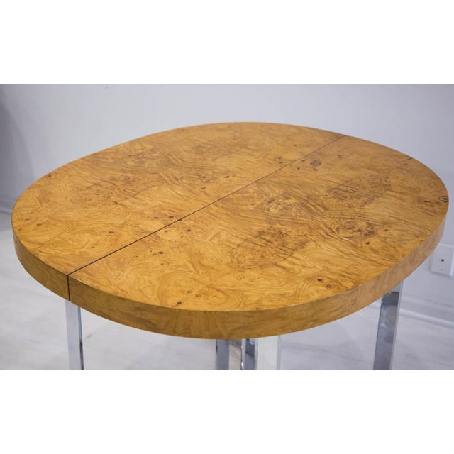 1970s Expandable Burl Wood Dining Table by Milo Baughman for Lane Furniture For Sale - Image 5 of 9