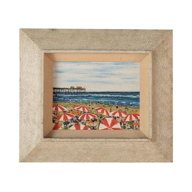Santa Monica Pier Beach Scene 1950s Oil Painting - Image 1 of 10