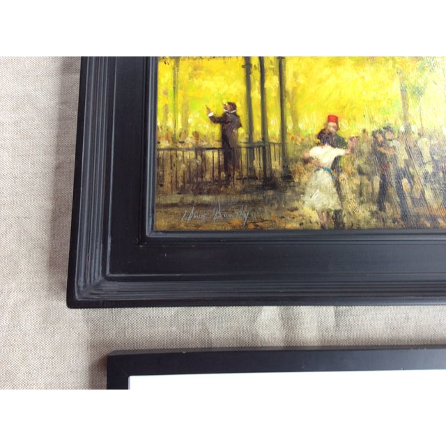 We found this charming Oil on Board Painting with a Pencil Study at a Country Brocante in Quebec The Bandstand, Luxembourg...