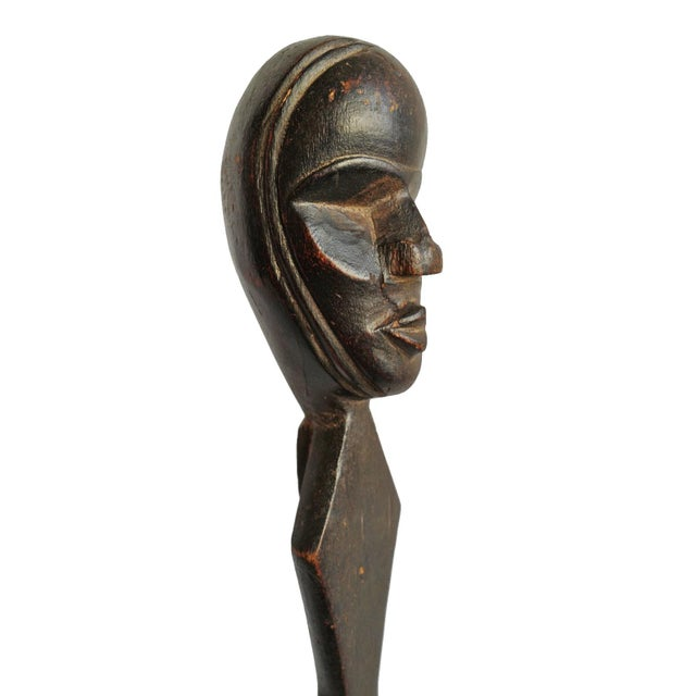 Old Dan Greese wood ceremony spoon from Liberia. Rich dark patina with traditional shaped head at end of handle with...