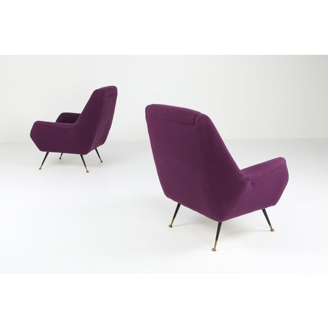 Mid-Century Modern 1950s Ico Parisi Easy Chairs With Purple Upholstery - a Pair For Sale - Image 3 of 12