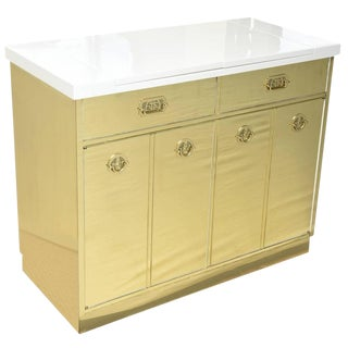 Mastercraft Polished Brass and White Lacquered Wood Dry Bar For Sale