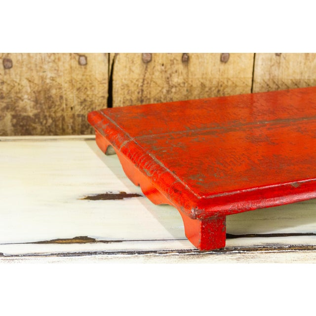 Mid 20th Century Rasila Red Wooden Bajot Table For Sale - Image 5 of 7