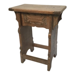 19th Century French Small Limed Oak Carved Side Table For Sale