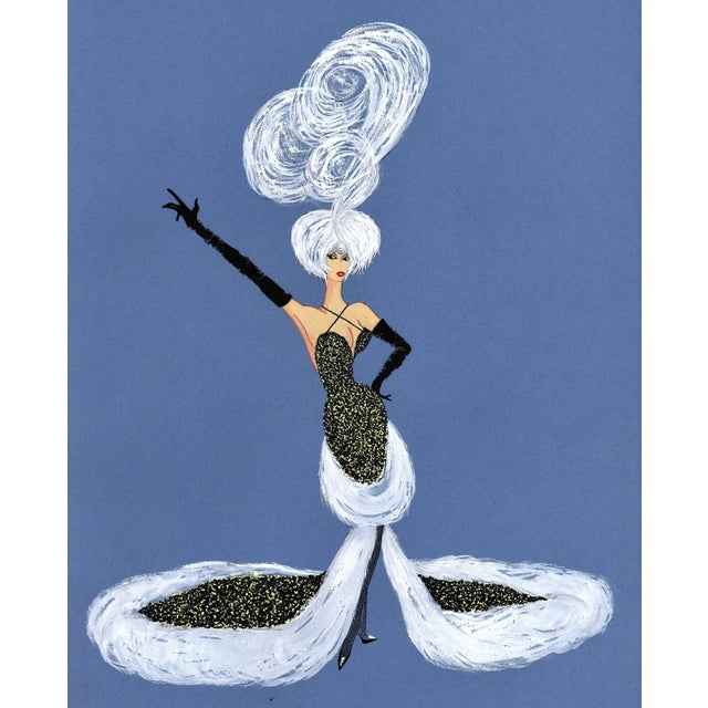 Mid-Century Fun! 1950s Vintage Cabaret Costume Fashion Gouache Drawing For Sale In New York - Image 6 of 6