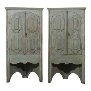 19th Century Painted Wood Corner Cabinets - a Pair For Sale