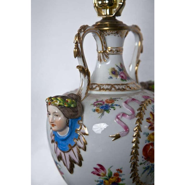 Porcelain Meissen Style Urn Form Lamps - Pair For Sale - Image 7 of 9