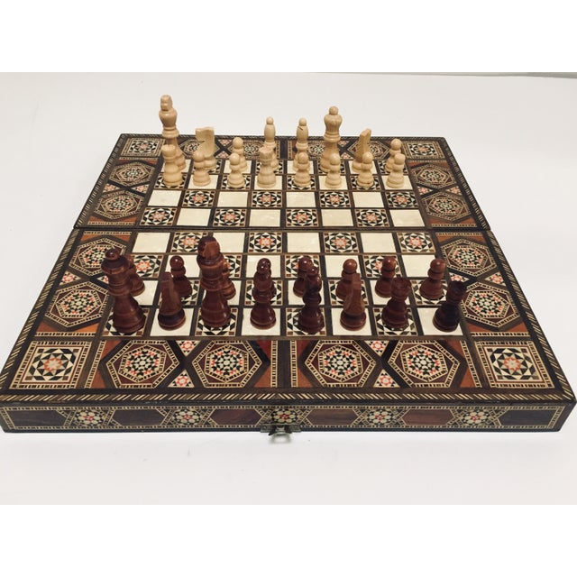 Vintage Mid-Century Syrian Inlaid Mosaic Backgammon and Chess Game For Sale - Image 12 of 12