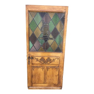Spanish Revival Stained Glass Front Door With Carved Wood For Sale