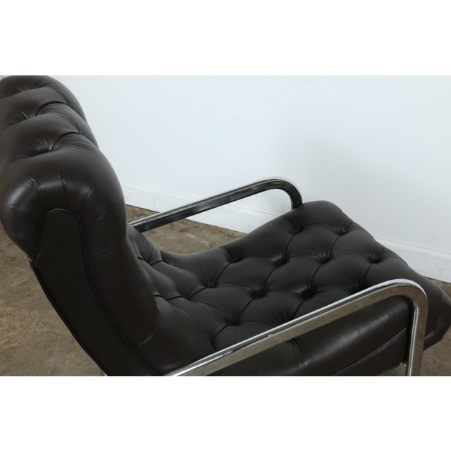 Brown Italian Leather Chair and Ottoman For Sale - Image 8 of 11