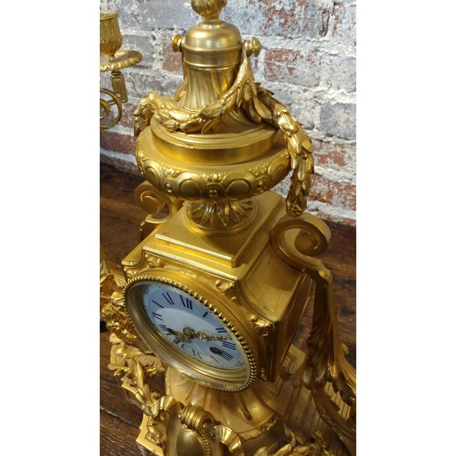 19th century French Empire Clock & Candelabra set-Fabulous Bronze Dore'-c1840s For Sale - Image 4 of 10