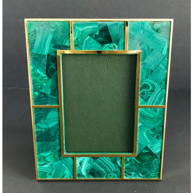 Malachite and gold-plated picture frame by Fabio Ltd Height: 10.5 inches / Width: 8.5 inches / Depth: 1 inch Photo size: 5...