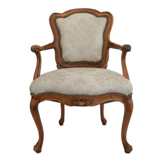 Provincial Upholstered Walnut Armchair For Sale