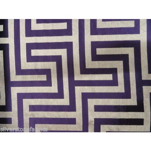 Beacon Hill Geometric Olympus in Purple & Silver - 2.25 Yards - Image 5 of 5