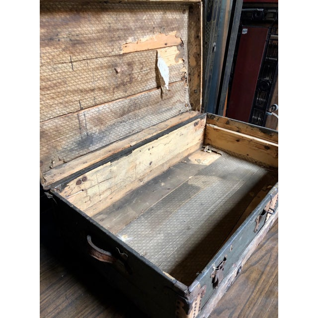 Vintage P & S Co. Wood Leather and Metal Trunk For Sale - Image 9 of 11