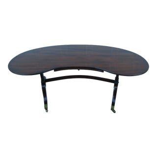 Kittinger Mahogany Kidney Shaped Coffee Table With Leather Slide-Out For Sale
