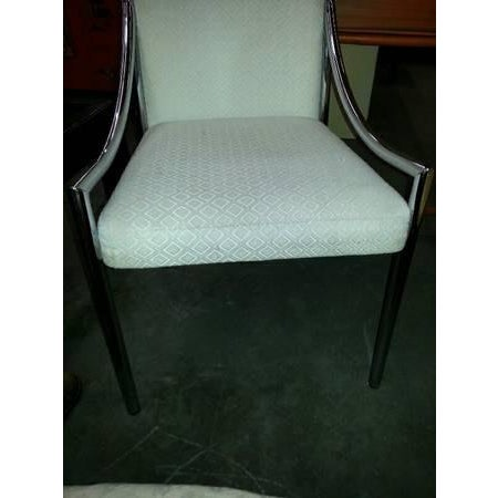 Milo Baughman 1960s Hollywood Regency Milo Baughman Chrome & Upholstered High Back Chair For Sale - Image 4 of 6