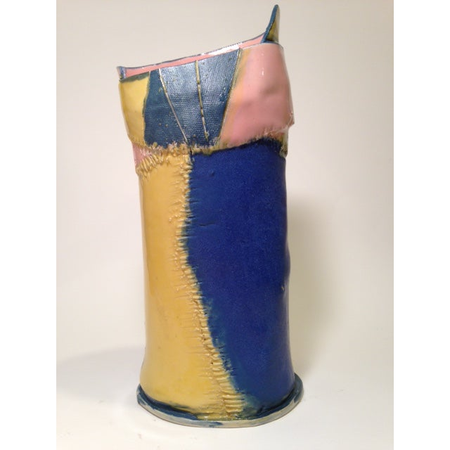 2010s Handmade Yellow Pink and Blue Ceramic Vase by Marsha Plafkin For Sale - Image 5 of 6
