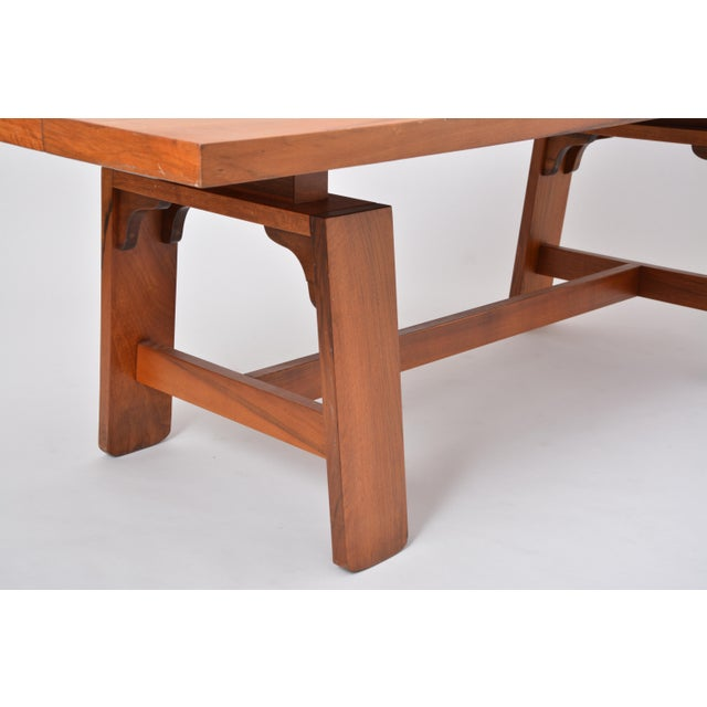 Silvio Coppola Large Dining Table in Walnut Veneer by Silvio Coppola, Bernini, Italy, 1964 For Sale - Image 4 of 12