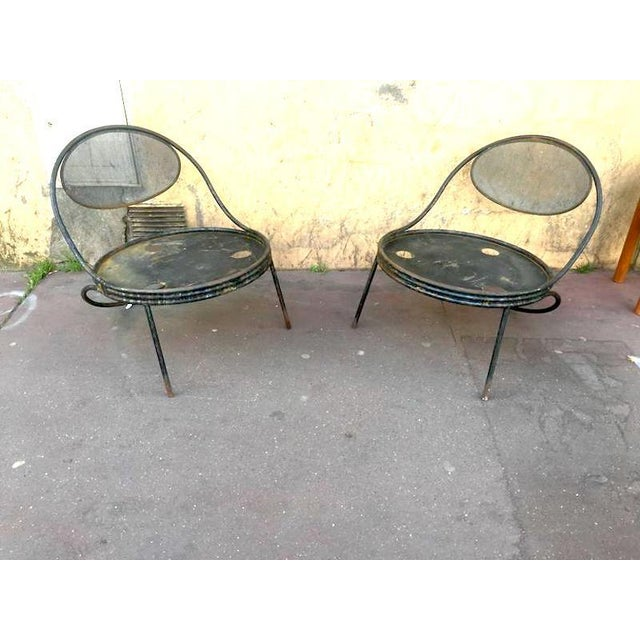 "Contemporary Mathieu Matégot, Pair of Chairs Model ""Copacabana"" in Genuine Vintage Condition For Sale - Image 3 of 6"