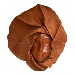 1970s Leather Face Wall Sculpture For Sale