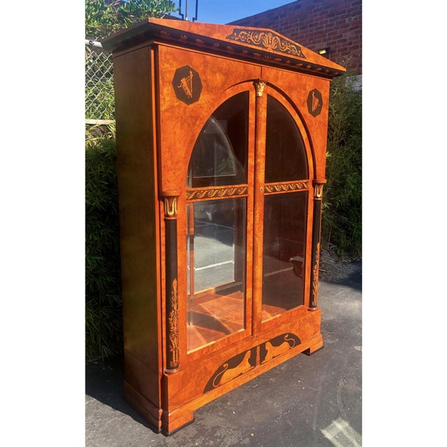 Versace Style Giemme Italian Neoclassical Inlaid Breakfront China Display Cabinet For Sale In Los Angeles - Image 6 of 7